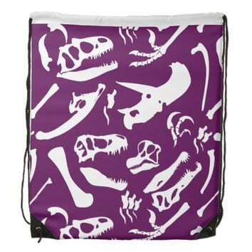 Dinosaur Bones (Purple) Drawstring Backpack