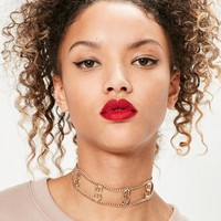 Missguided - Gold Dollar Sign Slogan Choker Necklace