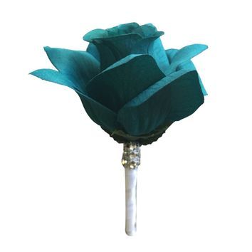 Boutonniere - Teal Open Rose with White Ribbon and Bling - Artificial