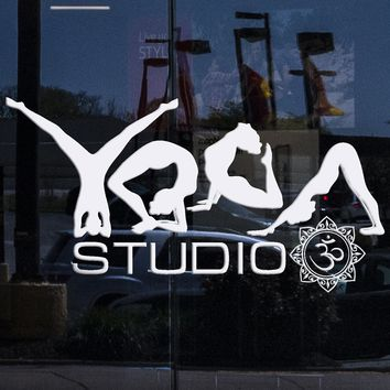 Window , Glass and Wall Vinyl Decal Yoga Studio Poses Word Meditation Room Stickers Unique Gift (ig3488w)