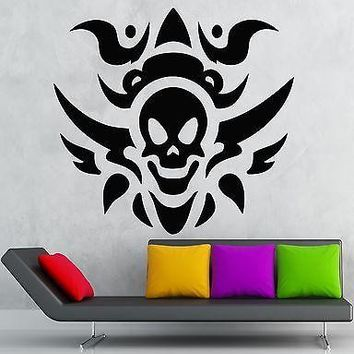 Skull Wall Stickers Scary Vinyl Decal Tattoo Fire Death Unique Gift (ig638)