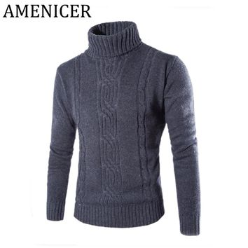 Hot Sale Men Sweaters Fashion Jacquard Sweater Slim Fit Turtleneck Turn-down Collar Mens Pullover Pull Homme Marque 2 Color