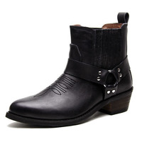 Motorcycle Full Grain Leather Cowboy Style Ankle Boots for Men