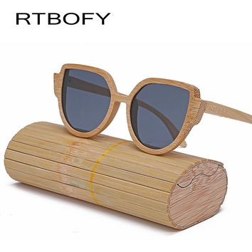 RTBOFY Wood Sunglasses Women Designer Hand 2017 Glasses Cat Eye Sunglasses Women -made Frame Mirror Polarized Sun Glasses UV400