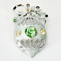 Large vintage silver green and yellow Christmas ornament brooch retro antique holidays fashion pin