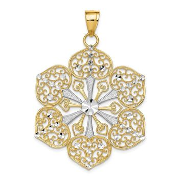 14k Yellow Gold & White Rhodium 35mm Filigree Flower Pendant