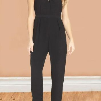 Black Cut Out Backless Round Neck Sleeveless Elegant Cocktail Party Long Jumpsuit