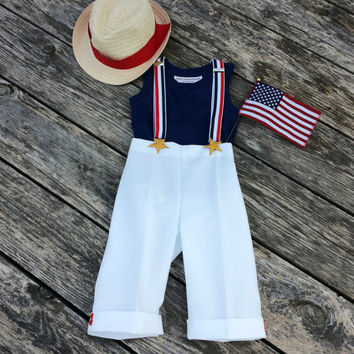 Boys Pants Suspenders Fedora Toddler Patriotic Memorial Day Celebration 4th of July Padgett Birthday Photo Prop Groom Wedding Ring Bearer