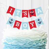 Nautical Baby Shower Bunting Cake Topper
