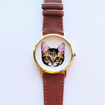 Cat Face Watch , Vintage Style Leather Watch, Women Watches, Unisex Watch, Boyfriend Watch, Men's Watch, Ladies Watch