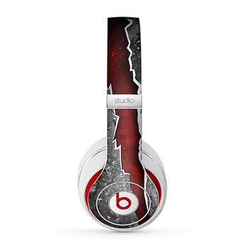 The Cracked Red Core Skin for the Beats by Dre Studio (2013+ Version) Headphones