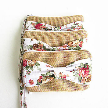 5 Burlap wristlets burlap clutches bridal cluth bridesmaid clutch ( set of 5) .