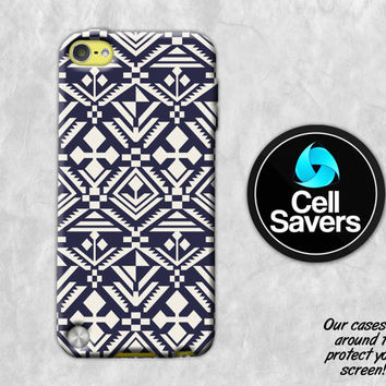 Tribal iPod 5 Case iPod 6 Case iPod 5th Generation iPod 6th Generation Rubber Case Gen Aztec Pattern Tribal Navy and White Boho Shapes Cool