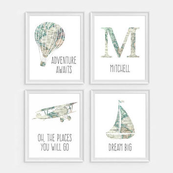 Airplane Nursery Art, Airplane Decor, Map Nursery Art, Hot Air Balloon Decor, Personalized Nursery Decor, Initial Nursery Art, Boat Nursery