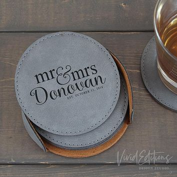 Personalized Round Leather Coaster Set of 6 - Gray CB07