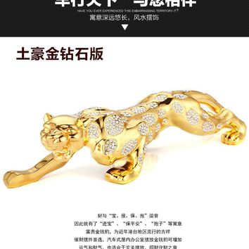 leopard car ornament covered with crystal,automobile interior accessories decoration