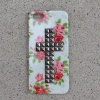 Floral Studded Cross Case