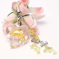 Yellow Heart And Dolphin Cell Phone Charm Strap Rhine Stone