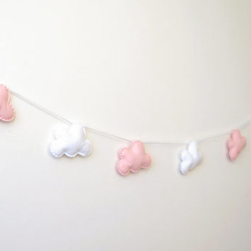 Cloud Garland, Pale Pink and White Clouds, Cloud Banner, Cloud Bunting, nursery decor, photo prop, baby shower gift, new baby, baby girl