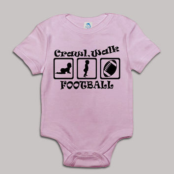 Crawl Walk Football Baby Bodysuit Baby Shower Baby Onesuit Baby Suit Baby One New Born Boy Girl Kids Child Children Clothes Gift Present