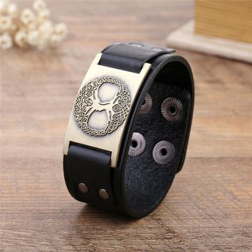 Wicca Tree of Life Sigil Vintage Charm Jewelry Adjustable Saver Clasp Studded Cuff Leather  Bracelet