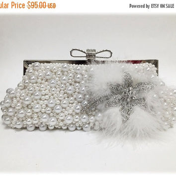 Bridal clutch, wedding clutch, pearl clutch, Crystal clutch, bridal evening bag, white clutch, bridal bag, feather clutch, bridesmaid clutch