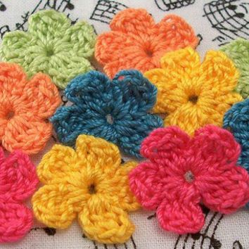 Crocheted Flower Appliques - Bright Colors
