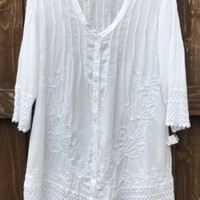 Soft Surroundings WHITE Embroidery Bohemian Tunic Top Sz Small NEW