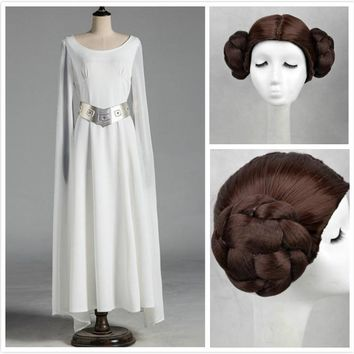 Cool Princess Leia Organa Solo Cosplay White Long Dress Wig Set Woman Star Wars Cos Costumes Halloween Carnival Cosplay DisguisementAT_93_12