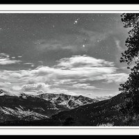 Colorado Rocky Mountain Evening View In Black And White Framed Print