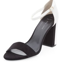 Wide Fit Black Colour Block Ankle Strap Heels