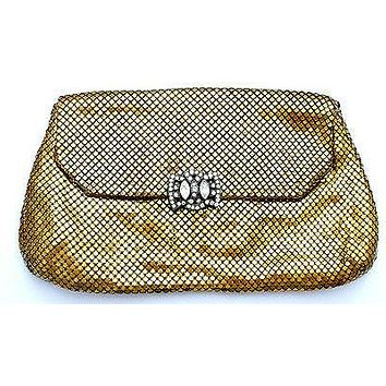 Whiting & Davis Clutch Purse Gold Mesh Rhinestone Clasp Bag Vintage