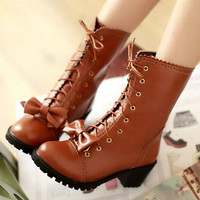 Japanese lolita cute bowknot boots