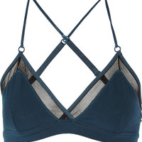Skin - Tulle-trimmed organic stretch-Pima cotton soft-cup bra