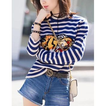 GUCCI Classic Fashion Women Personality Stripe Tiger Head Knit Long Sleeve Round Collar Sweater Pullover Top White/Blue