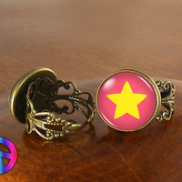 Steven Universe Pink Star Womens Girls Adjustable Ring Rings Jewelry Gift