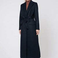 Black Coat Black Wool Coat Long Black Coat Black Wrap Coat Black Outwear Long Coat
