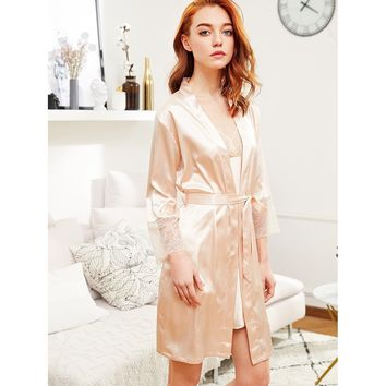Lace Cuff Self Tie Satin Robe Champagne