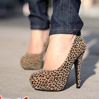 Womens OL Stiletto Heels Platform Faux Suede Hot Leopard Pumps Shoes