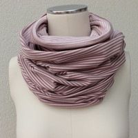 Rose Striped Infinity Scarf - Rose Circle Jersey Scarf - Soft Pink Jersey Loop - Rose Reversible Infinity - Striped Eternity Cowl
