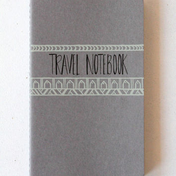 Travel Journal • Gift Under 25 Stocking Stuffer • Gifts for Her Traveler • Going Away Gift • Calligraphy Grey Moleskin Mint Green