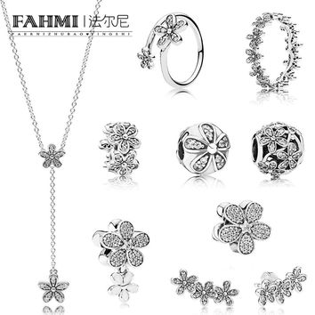 FAHMI 100% 925 Sterling Silver DAZZLING DAISY Flower Collection Ring Earrings Stud Beaded Charm Clip Necklace SPACER Jewelry