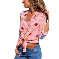 Z  Chicloth Pink Long Sleeve Floral Print Button Front Shirt