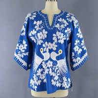 Vintage 1970s Mexican Embroidered Tunic / BLUE PEACOCKS / Oaxaca Embroidery