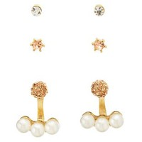 Gold Ear Jackets & Stud Earrings - 3 Pack by Charlotte Russe