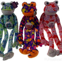 Lot 3 Peace Love Flower Frogs Sweet As Candy Have Hope Free Hugs Hanging Plush