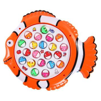 DCCKL72 Plastic Electric Rotating Magnet Fishing Game Kid Children Educational Toy Puzzle Toy Electric Music Plate Game T30