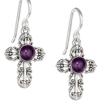 STERLING SILVER FILIGREE AMETHYST CROSS EARRINGS