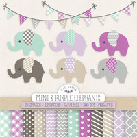 Elephant Clipart. Baby Shower, Nursery Clip Art & Digital Paper. Mint, Purple, Grey, Lavender Digital Background. Cute Baby Elephant, Banner