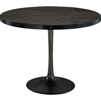 Drive Wood Top Dining Table Black Pine & Cast Iron